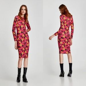 NEW ZARA FLORAL POLYAMIDE DRESS WITH LONG SLEEVES